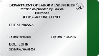 Commercial Plumber Certification Card (WA)
