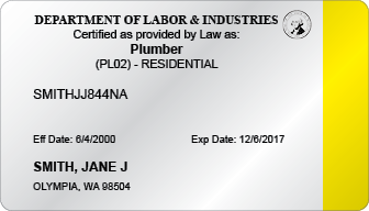 Residential Plumber Certification Card (WA)