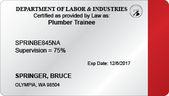 Plumber Trainee Certification Card (WA)